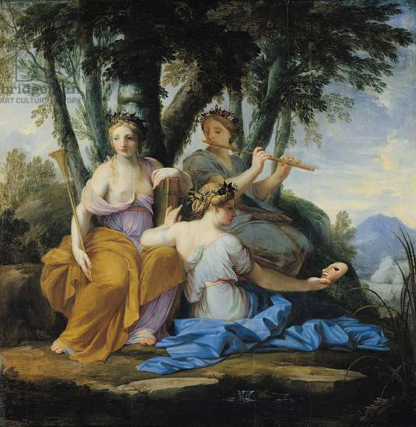 The Muses, Clio, Euterpe and Thalia, c.1652-55 (oil on panel)