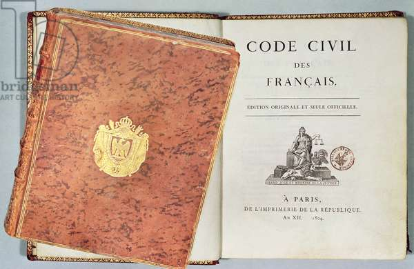 'Le Code Civil des Francais', showing the binding and title page, first edition pub. 1804