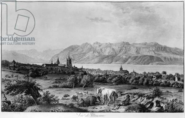 View of Lausanne (engraving) (b/w photo)