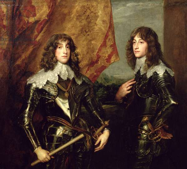 Prince Charles Louis (1617-80) Elector Palatine and his Brother, Prince Rupert (1619-82) of the Palatinate, 1637 (oil on canvas)
