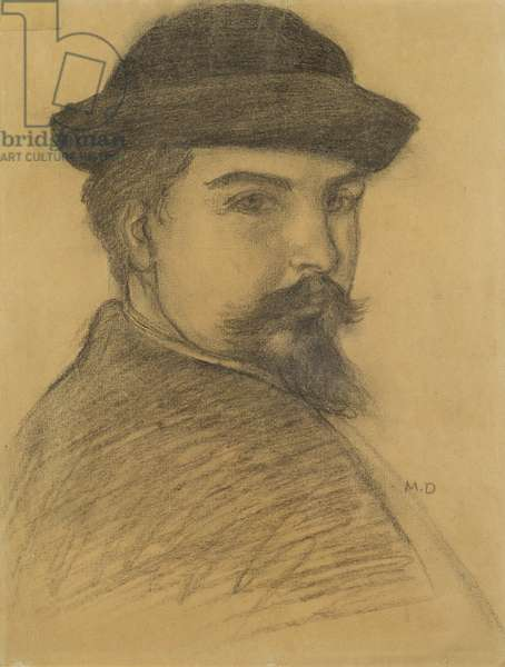 Portrait of the artist in a black hat (charcoal on paper)