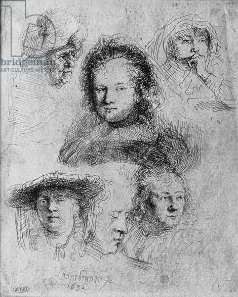 Six heads with Saskia van Uylenburgh (1612-42) in the centre, 1636 (etching) (b/w photo)