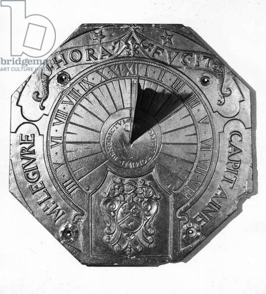 Portable Sundial, from Sierk Castle (Moselle) 1756 (slate) (b/w photo)