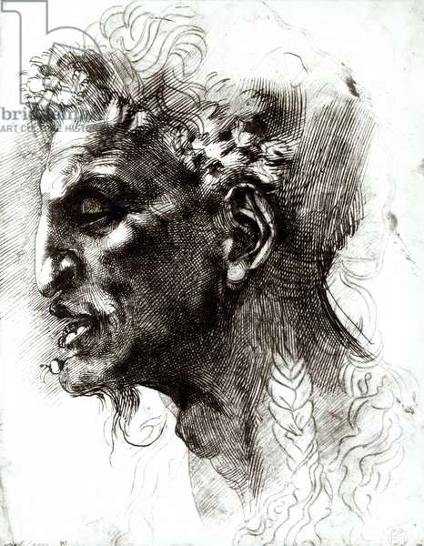 Head of a Satyr (pen & ink on paper) (b/w photo)