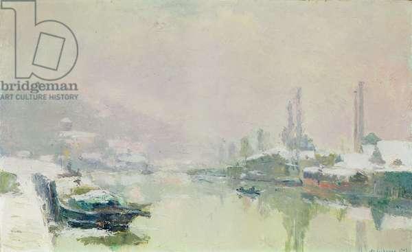 The Ile Lacroix under Snow, 1893 (oil on canvas)