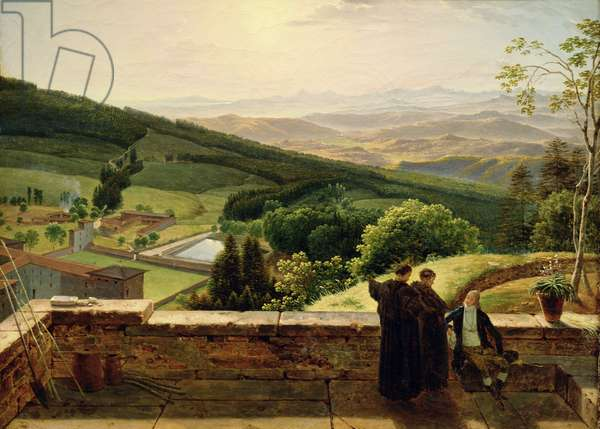 View of Vallombrosa, near Florence (oil on canvas)