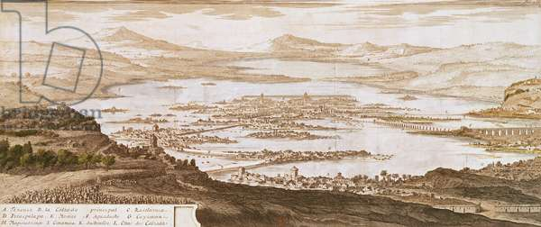 The Town of Mexico, from 'Voyages aux Regions Equinoxales du Nouveau Continent' by Alexander von Humboldt (1769-1859) 1810 (engraving)