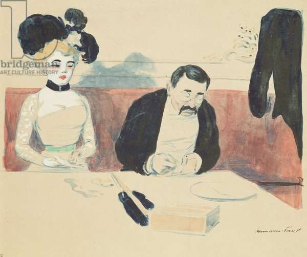 Couple in a Restaurant (w/c on paper)