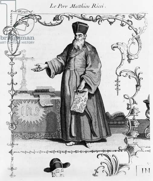Father Matteo Ricci (1552-1610) (engraving) (b/w photo)