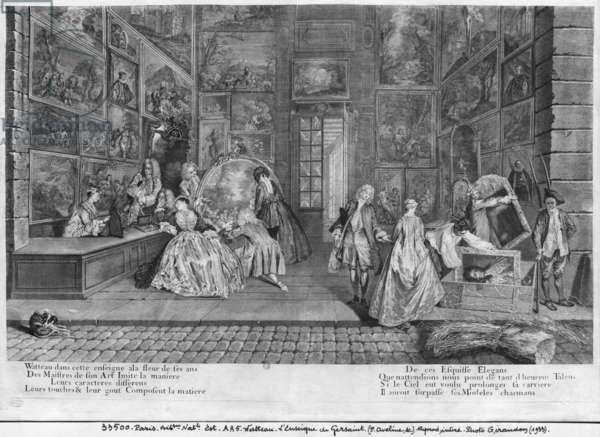 The shop sign of Gersaint, engraved by Pierre Aveline (c.1656-1722) c.1720 (engraving)