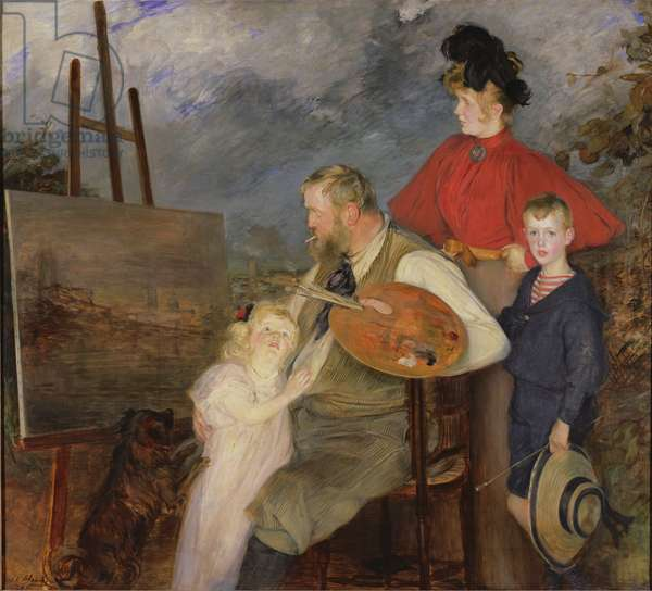 The Painter Thaulow and his Children, or The Thaulow Family, 1895 (oil on canvas)
