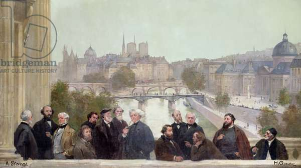 Fragment of the panorama of 'The History of the Century', with portraits of French artists and authors, 1889 (oil on canvas)