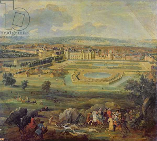 View of the Palace of Fontainebleau from the Parterre of the Tiber, 1722 (oil on canvas)