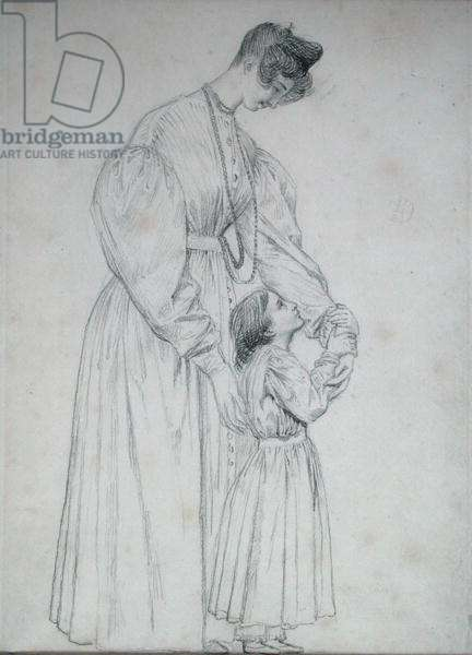 Madame de Gisors and her Daughter, 1827 (pencil on paper)
