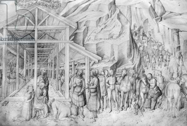 Adoration of the Magi, from the Jacopo Bellini's Album of drawings (pen & ink on vellum) (b/w photo)