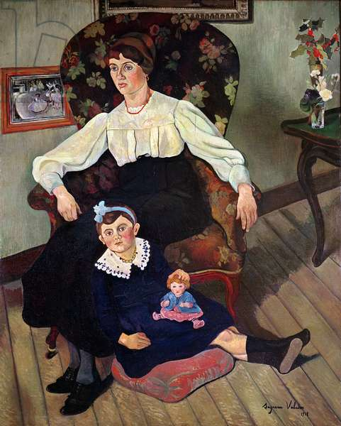 Portrait of Marie Coca and her Daughter, 1913 (oil on canvas)