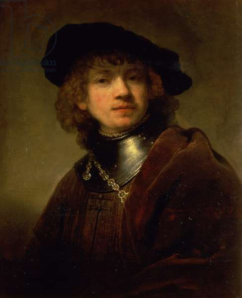 'Tronie' of a Young Man with Gorget and Beret, c.1639 (oil on panel)
