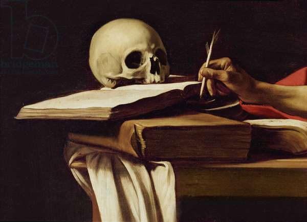 St. Jerome Writing, c.1604 (oil on canvas) (detail of 64912)