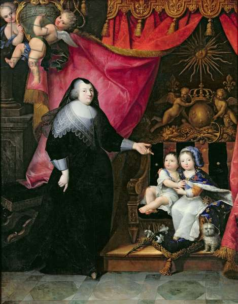Madame de Lansac (1582-1657) and the Children of France, Louis XIV (1638-1715) and his brother Philippe of Orleans (1640-1701) after 1640 (oil on canvas)