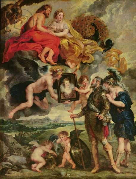 The Medici Cycle: Henri IV (1553-1610) Receiving the Portrait of Marie de Medici (1573-1642) 1621-25 (oil on canvas)