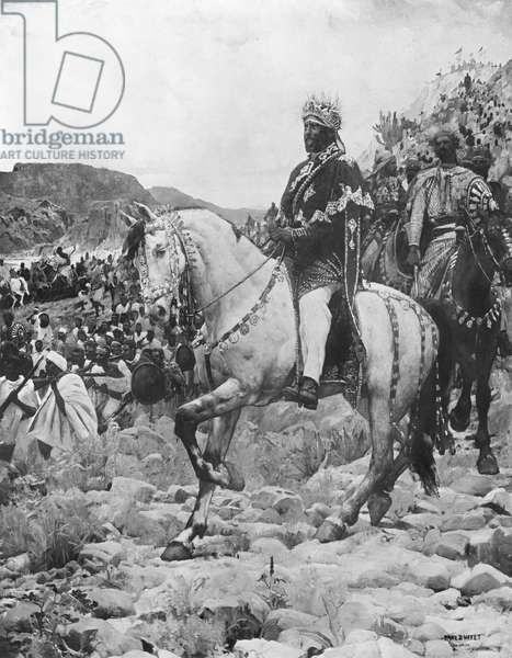 Negus of Ethiopia, Menelik II (1844-1913) at the battle of Adowa, 1897 (oil on canvas) (see also 287703) (b/w photo)