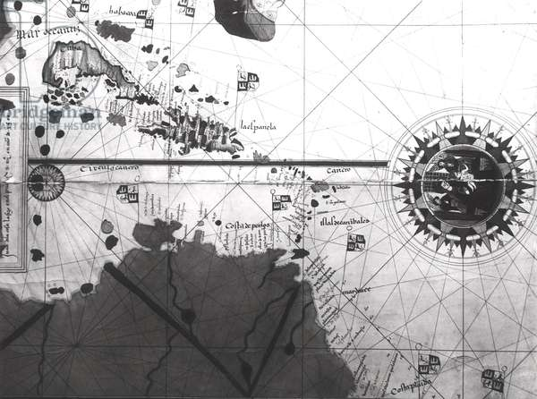 Map of countries first discovered by Christopher Columbus (1451-1506) 1500 (gouache and pen and ink on paper) (b/w photo)