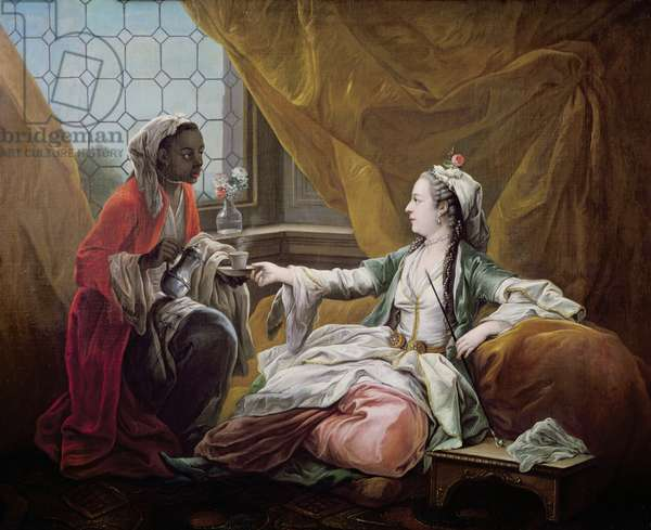 Sultana being offered coffee by a servant (oil on canvas)