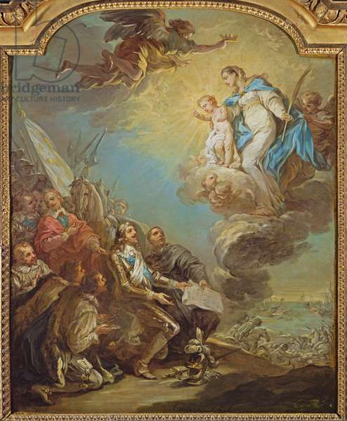 Study for Louis XIII (1601-43) Dedicating the Church of Notre-Dame-des-Victoires to the Virgin in 1629, before 1748 (oil on canvas)