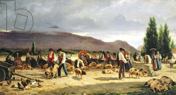 The Pig Market, 1875 (oil on canvas)