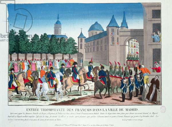 Triumphant Entry of the French into Madrid, 4th December 1808 (coloured engraving)