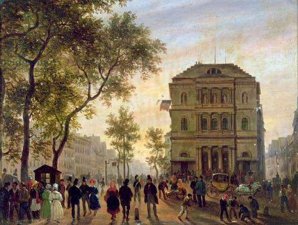 Boulevard Saint-Martin and the Theatre de l'Ambigu, 1830 (oil on canvas)