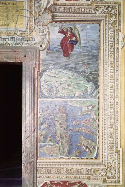 Map of Malta, detail from the 'Galleria delle Carte Geografiche', 1580-83 (fresco) (see 259885 for detail)