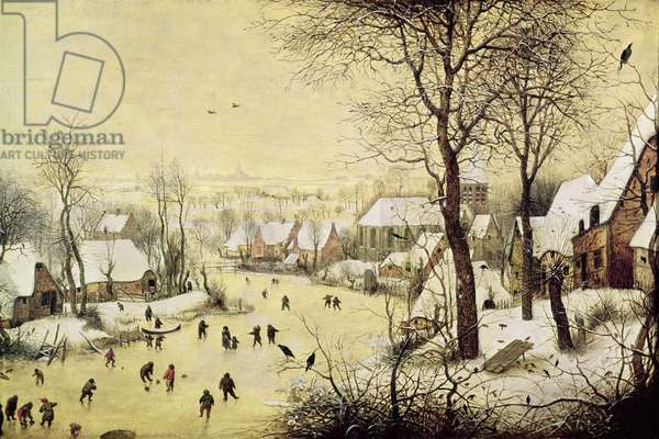 Winter Landscape with Skaters and a Bird Trap, 1565 (oil on panel)