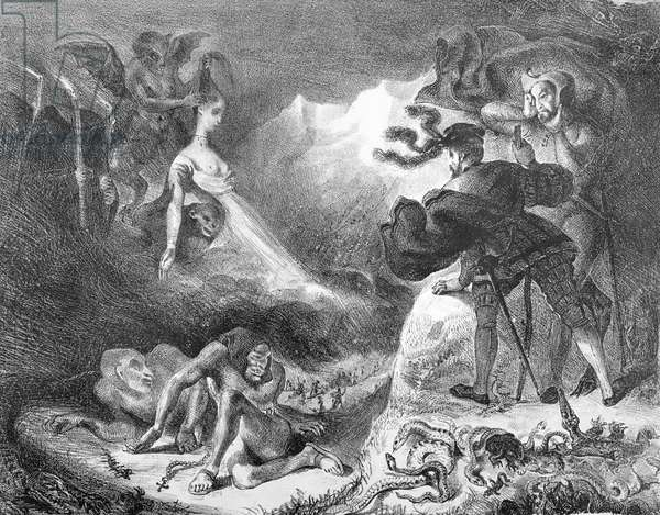 Faust and Mephistopheles at the Witches' Sabbath, from Goethe's Faust, 1828, (illustration), (b/w photo of lithograph)