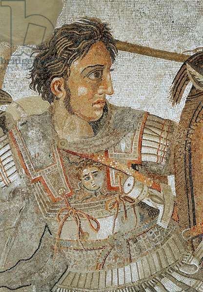 Alexander the Great (356-323 BC) from 'The Alexander Mosaic', depicting the Battle of Issus between Alexander and Darius III (399-330 BC) in 333 BC, floor mosaic removed from the Casa del Fauno (House of the Faun) at Pompeii, after a 4th century BC Hellenistic painting by Philoxenos of Eritrea (mosaic) (detail of 154003)