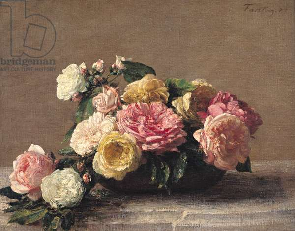 Roses in a Dish, 1882 (oil on canvas)