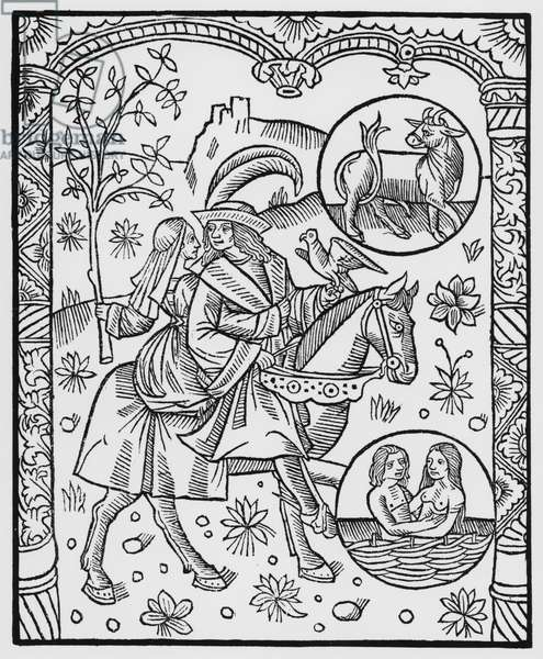 May, from the 'Almanach des Bergers', 1491 (xylograph) (b/w photo)