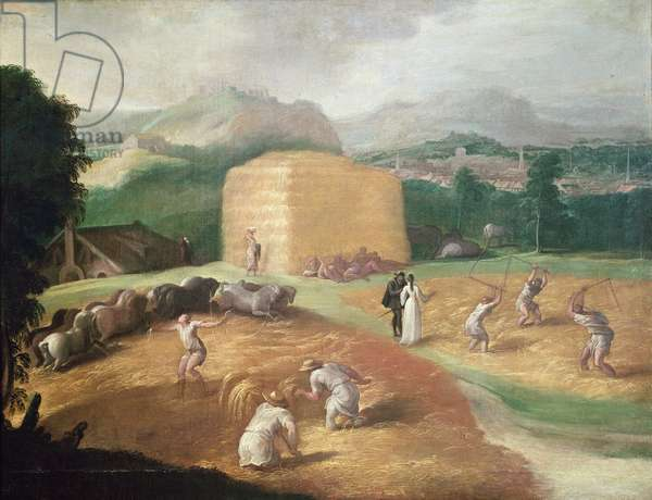Landscape with Corn Threshers (oil on canvas)