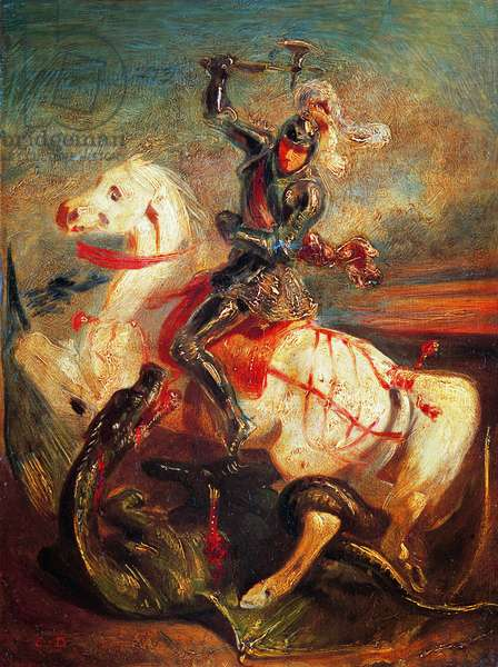 Saint George and the Dragon (oil on canvas)