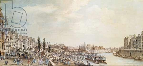 View of the Port Saint-Paul, Paris, 1782 (w/c on paper)