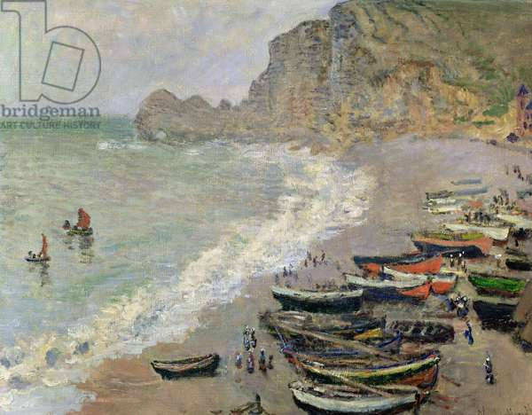 Etretat, beach and the Porte d'Amont, 1883 (oil on canvas)