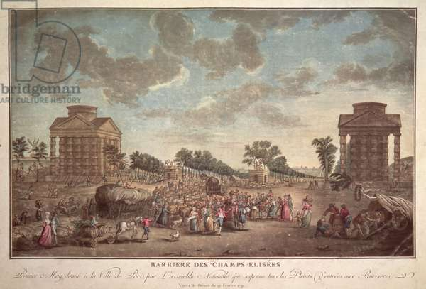 The Barrier at the Champs Elysees. The Suppression of Right of Entry to Paris in 1790 (coloured engraving)