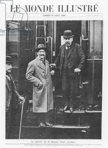 Aristide Briand departing for London, from 'Le Monde Illustré', 15 August 1925 (b/w photo)