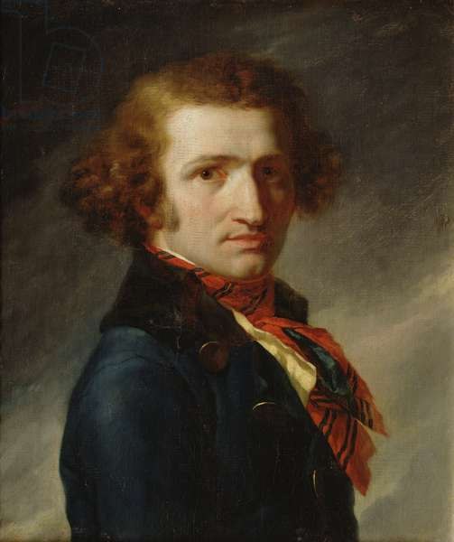 Portrait of a man in blue clothes (oil on canvas)