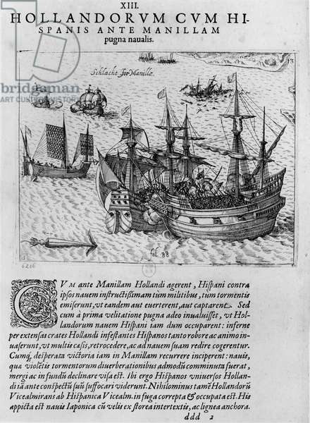 Naval combat between the Dutch and the Spanish off the coast of Manila (engraving) (b/w photo)