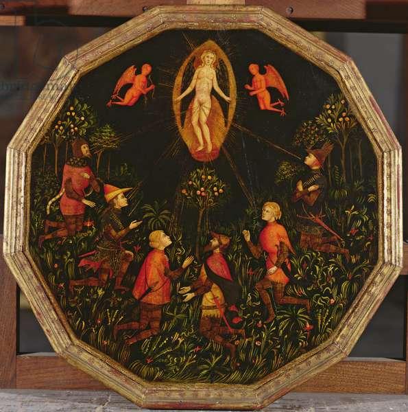 Confinement tray depicting the Triumph of Venus venerated by six legendary lovers: Achilles, Tristan, Lancelot, Samson, Paris and Troilus (oil on panel)