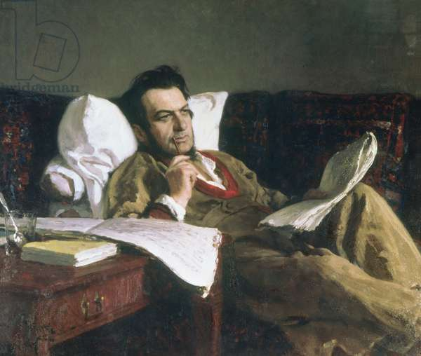 Portrait of Mikhail Glinka at the time of his composition of the opera 'Ruslan and Ludmilla', c.1887 (oil on canvas)