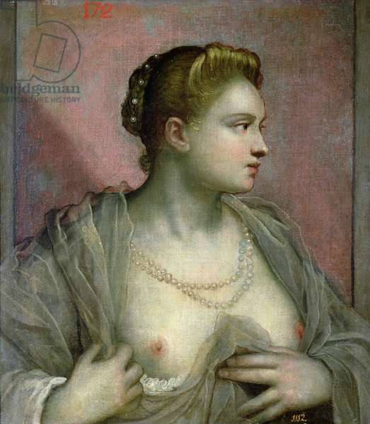 Portrait of a Woman Revealing her Breasts, c.1570 (oil on canvas)