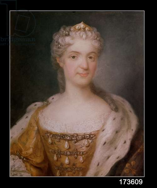 Portrait of Marie Leczinska (1703-68) Queen of France (pastel on paper) (see 173610 for pair)
