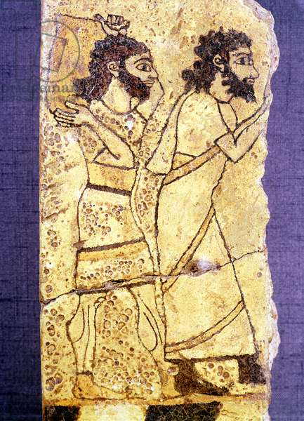Fragment of a plaque depicting two men walking, from Nineveh (painted stone)